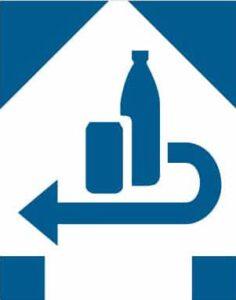 Einweg mit Pfand: Blaues Symbol zeigt Flasche und Dose mit Pfeil