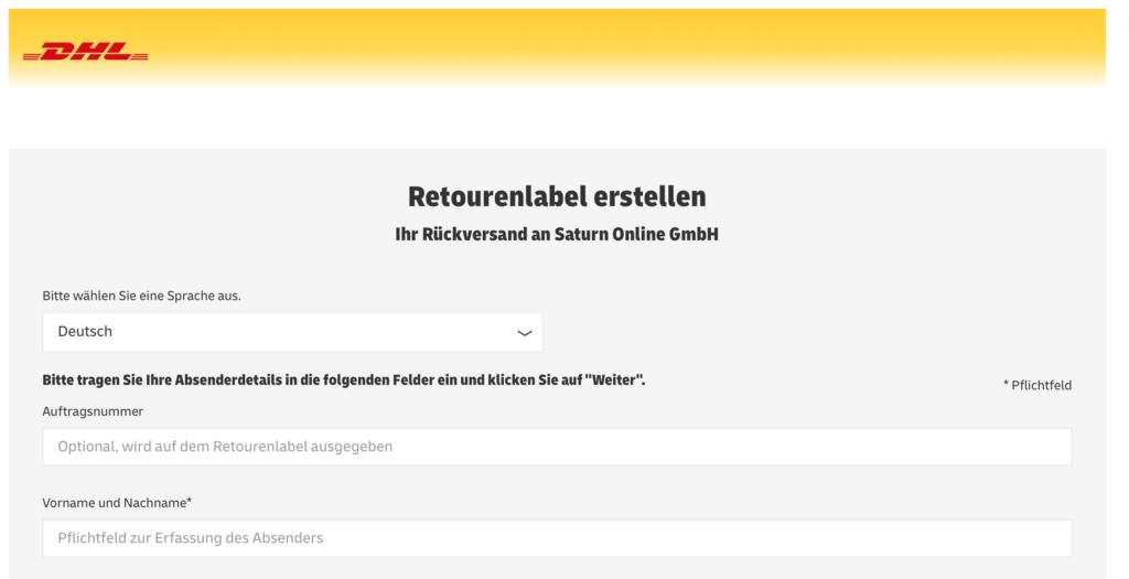 Formular, um per DHL ein Retourenlabel zu erstellen