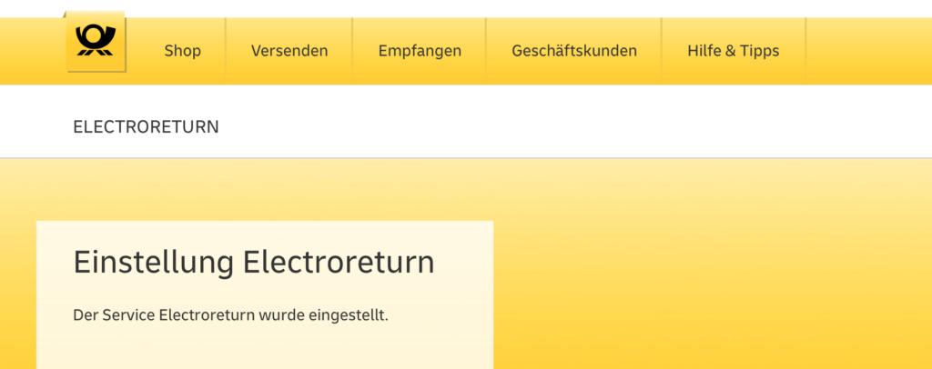 Der Service Electroreturn der Deutschen Post wurde eingestellt.