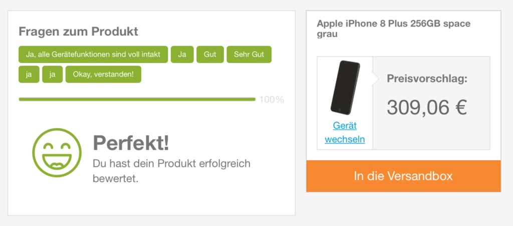 Rebuy schlägt 306,06 € für ein gebrauchtes iPhone 8 vor